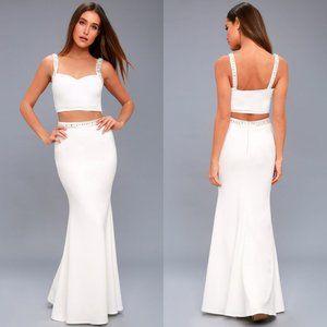 Lulu's Wynne White Beaded Two-Piece Maxi Dress